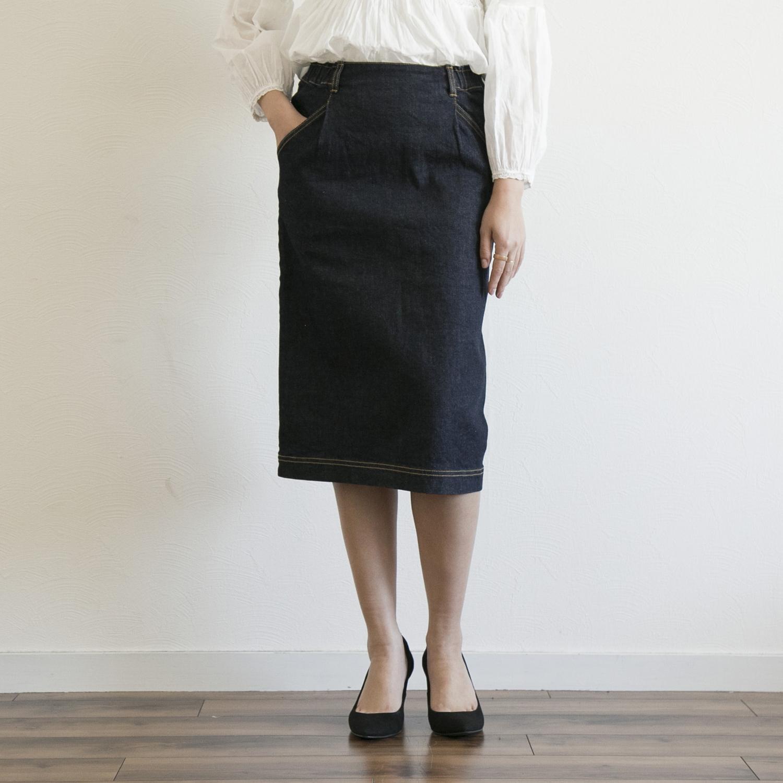 女っぷりがあがるデニムスカート STELLA 返品送料無料 CIFFON 36 タイトデニムスカート 送料込 インディゴ