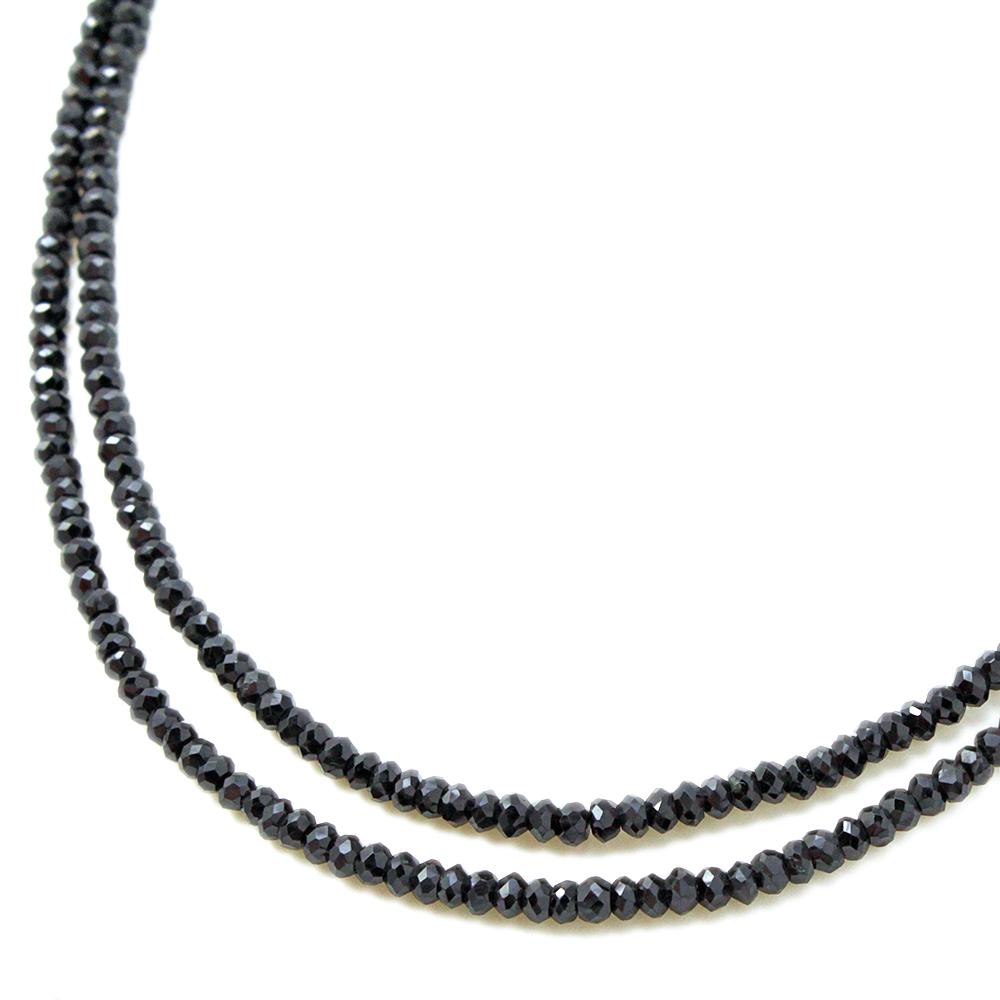 期間限定 店内全品ポイント10倍 ブラックスピネル ネックレス 4mm 2連 グレードAAA ブラック メンズ アクセサリー プレゼント シルバー SV 重ねづけ