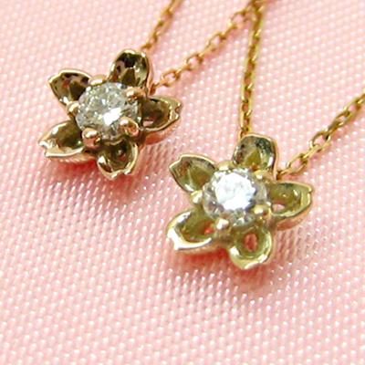 期間限定 店内全品ポイント10倍 ダイヤモンド ネックレス サクラ ネックレス 桜 ネックレス フラワー ネックレス ダイヤモンドネックレス ダイヤネックレス 一粒ダイヤ ネックレス K10 一粒ダイヤモンド ネックレス
