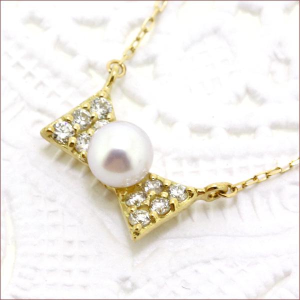 期間限定 店内全品ポイント10倍 リボン ネックレス ダイヤモンド ネックレス パール ネックレス パール 真珠 ネックレス パール ベビーパールこや真珠 アコヤ真珠 ゴールド 18金 18K 重ねづけ