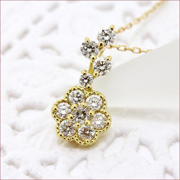 期間限定 店内全品ポイント10倍 フラワー ネックレス ダイヤモンド ネックレス ダイヤモンドネックレス ダイヤ ネックレス 18金 K18 アンティーク