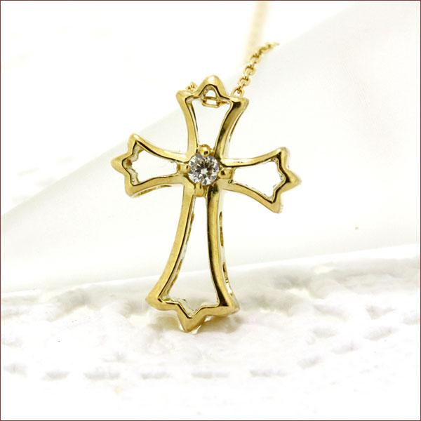 期間限定 店内全品ポイント10倍 クロス ダイヤモンド ネックレス ゴールド 一粒 ダイヤ 18金 K18 重ねづけ