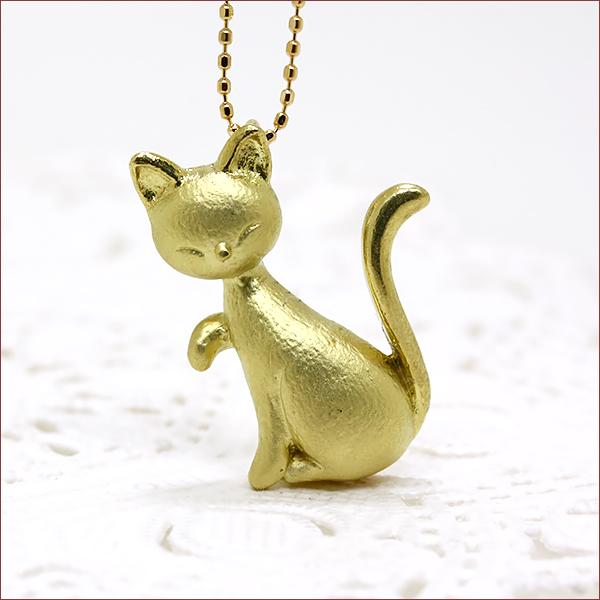 期間限定 店内全品ポイント10倍 猫 ネックレス 地金 ネックレス K18YG 18金 イエローゴールド 送料無料 レディース ジュエリー 通販 キャット 猫 ネコ ネックレス