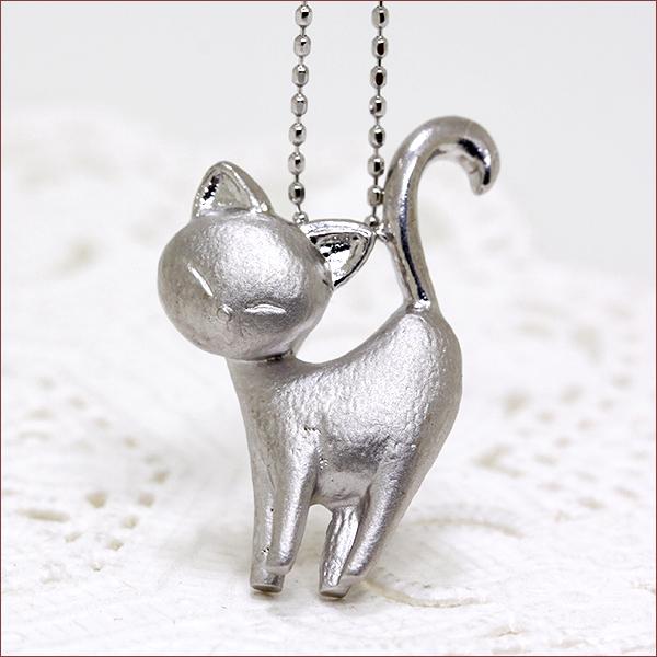 期間限定 店内全品ポイント10倍 猫 ネックレス 地金 ネックレス K18WG 18金 ホワイトゴールド 送料無料 レディース ジュエリー 通販 キャット 猫 ネコ ネックレス