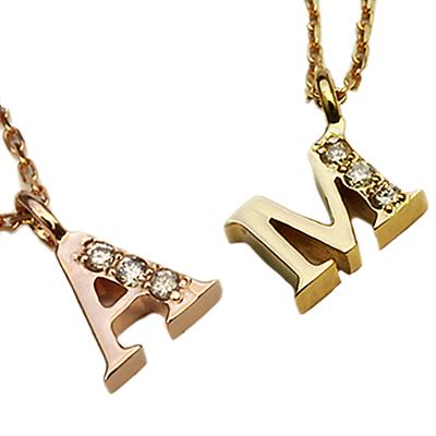 期間限定 店内全品ポイント10倍 イニシャル ネックレス ダイヤモンド ネックレス 一粒ダイヤ イニシャル ネックレス k18 ネーム ネックレス k18 ダイヤ ネックレス ピンクゴールド PG 18金 18K 重ねづけ 送料無料