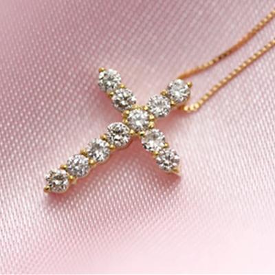 期間限定 店内全品ポイント10倍 クロス ダイヤモンド ネックレス 0.3ct 十字架 K18 Pt ゴールド プラチナ 重ねづけ