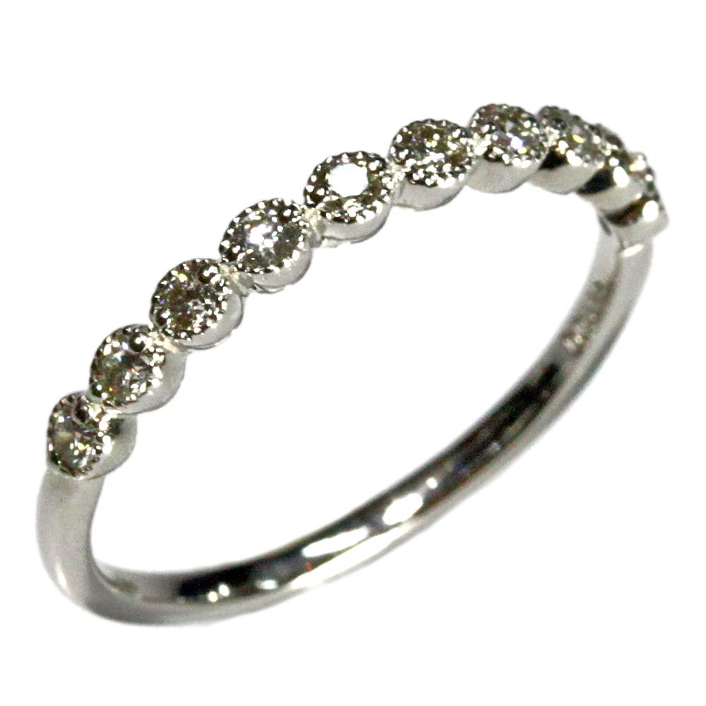 期間限定 店内全品ポイント10倍 ダイヤモンド リング ジュエリー プラチナ900 pt900 0.2ct 指輪 プラチナ リング シンプル アンティーク風 ミル レディース 指輪 ファッションリング 4月誕生石 送料無料