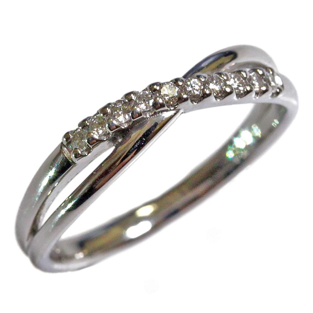 期間限定 店内全品ポイント10倍 ダイヤモンド ダブルライン リング ジュエリー プラチナ 指輪 プラチナ リング Pt クロス 指輪 レディース 指輪 ファッションリング 4月誕生石 送料無料