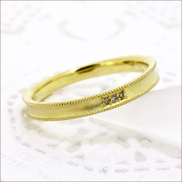 期間限定 店内全品ポイント10倍 ダイヤモンド リング デザイン リング 送料無料 アンティーク ダイヤ リング ミルライン ミル打ち 18金 K18 重ねづけ リング