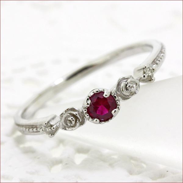 期間限定 店内全品ポイント10倍 ルビー リング ルビー ジュエリー ダイヤ リング ダイヤモンド リング バラ リング 薔薇 バラ フラワー リング 指輪 重ねづけ
