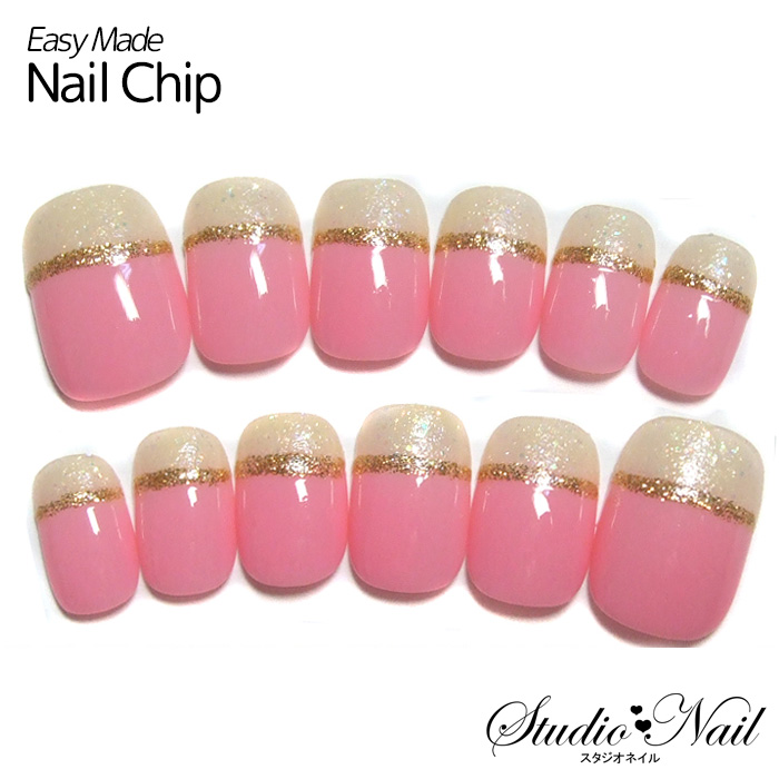 studio-nail: ◎Pink yellow containing 12 pieces of French gold line ...