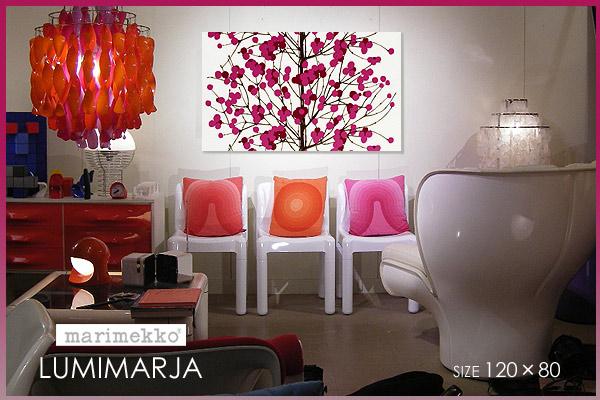 【ファブリックパネル】marimekko(マリメッコ) Lumimarja(RED) [ご注文サイズ:W120cm×H80cm] 【北欧 ファブリック/ファブリックボード】