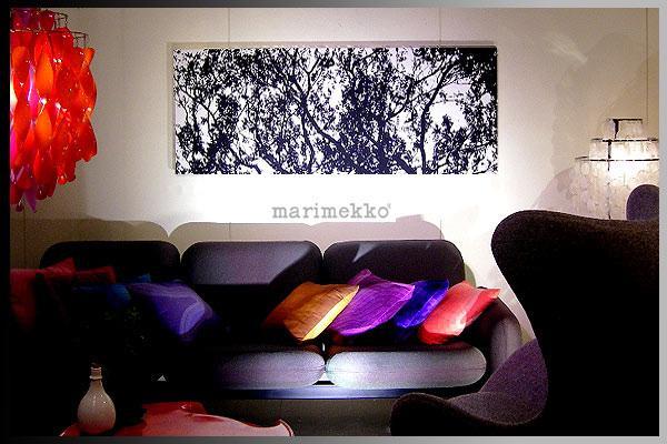 【marimekko(マリメッコ)】 ファブリックパネル ファブリックボード TUULI(BLK) [サイズ:140×55cm]【北欧 ファブリック】