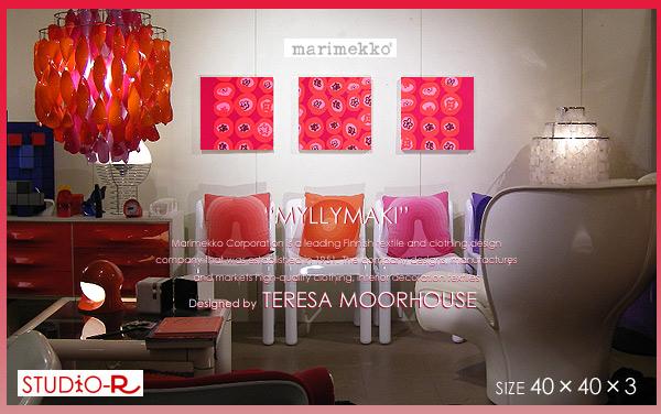marimekko (マリメッコ) ファブリックパネル ファブリックボード MYLLYMAKI(RED) [ご注文サイズ:W40cm×H40cm×3set] 北欧 ファブリック