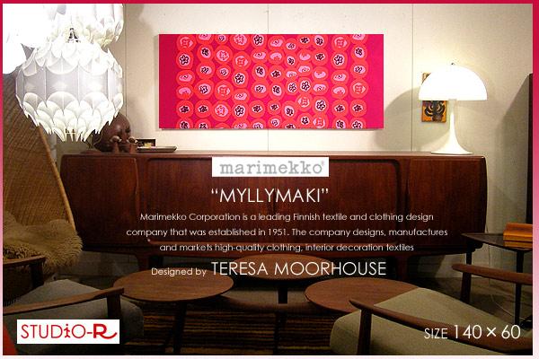 marimekko マリメッコ ファブリックパネル/ファブリックボード MYLLYMAKI(RED)[ご注文サイズ:W140cm×H60cm]北欧 ファブリック