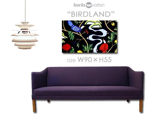 BORAS社/ボラス ファブリックパネル ファブリックボード BIRDLAND(NVB)/バードランド(濃紺)[SIZE:W90cm×H55cm]北欧 ファブリック