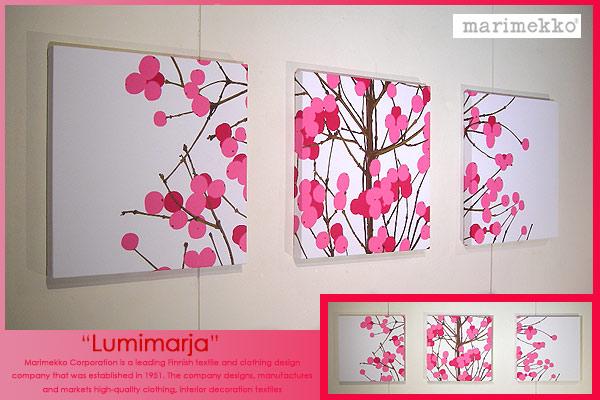 marimekko(マリメッコ) ファブリックパネル ファブリックボード Lumimarja(RED)[ご注文サイズ:W40cm×H40cm×3set]北欧 ファブリック