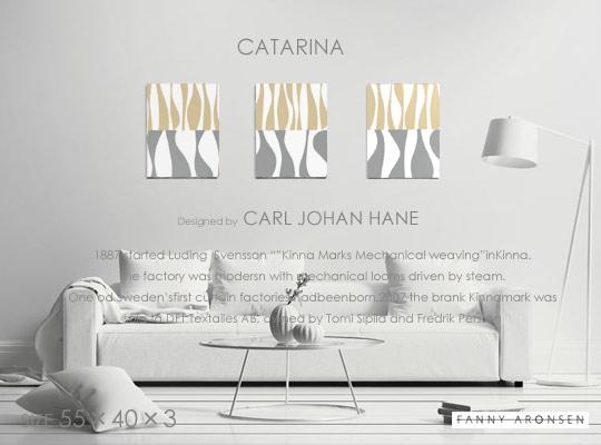 ファブリックパネルファブリックボードFANNY ALONSEN社ファニーアロンセン社CATARINA・カタリナグレー×ベージュ北欧ファブリックSIZE W40cm×H55cm×3枚セット各サイズ選べます