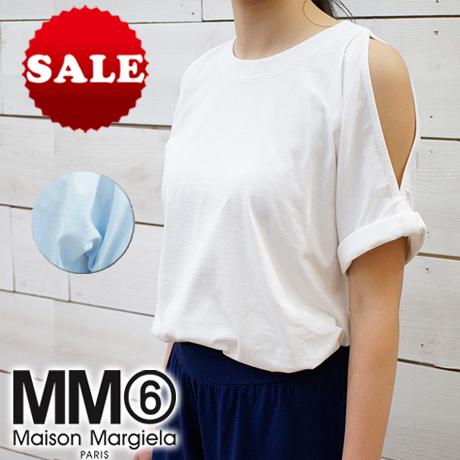 【定価27,500円(税込)】MM6 Maison Margiela エムエムシックス メゾンマルジェラ 清涼感溢れる肌見せトップス♪旬顔なオープンショルダーTシャツ 肩開き ライトブルー ホワイト S32GC0468 XS S M L XL イタリア製 レディース
