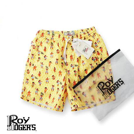 【定価11,000円(税込)】ROY ROGER'S  ロイ ロジャース 大人の遊び心擽るスイムウェア!美しいカラーリングでビーチの主役に!フラダンサープリントスイムウェア! ハワイアン 海パン 水着 ショートパンツ 短パン ショーツ イエロー 30 31 32 33 34 35 36