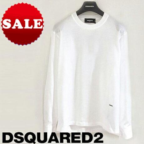 【定価50,600円(税込)】DSQUARED2 ディースクエアード 美しいホワイトTシャツにドレスシャツを落とし込んだ大人の遊び心溢れる一枚!ブランドロゴプレート付 シャツ袖デザインのロングTシャツ コットン イタリア製 ホワイト メンズ S74GD0691 XS S M L XL XXL XXXL