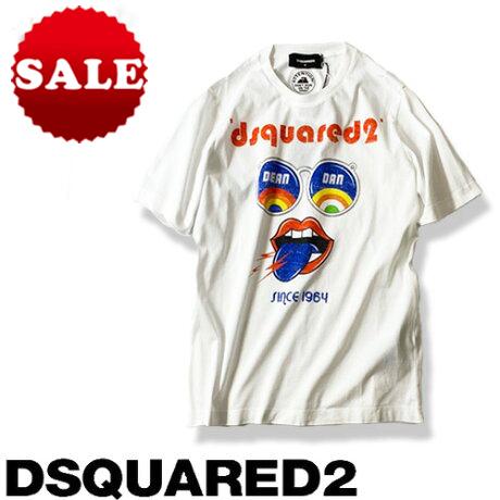 【定価33,000円(税込)】DSQUARED2 ディースクエアード 快適な着心地とポップなデザインがラグジュアリーな大人カジュアルを演出!ブランドロゴ入りクルーネックTシャツ 半袖 ホワイト S72GD0235 XS S M L XL レディース safari サファリ