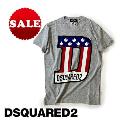 【定価37,400(税込)】DSQUARED2 ディースクエアード 極上の着心地とポップなデザインが胸元を飾る!上品でラグジュアリーな大人カジュアルを演出!カナダリーフの星条旗&ブランドロゴ入りクルーネックTシャツ 半袖 グレー S74GD0671メンズ XS S M L XL XXL XXXL