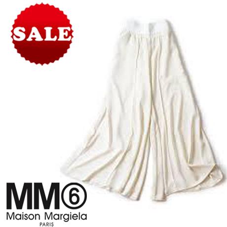 【定価48,400円(税込)】MM6 Maison Margiela エムエムシックス メゾンマルジェラリュクスな履き心地にエレガントさをプラス!軽やかなドレープが美しいワイドパンツ!ガウチョ フレア ホワイト S32KA0468 36 38 40 42 44 イタリア製