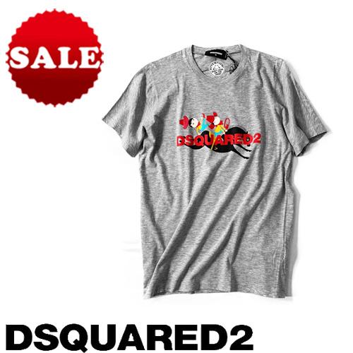 【定価35,200円(税込)】DSQUARED2 ディースクエアード ロデオプリントがキャッチ―!美しいシルエットでラグジュアリーな大人カジュアルを演出!クルーネックプリントTシャツ 半袖 グレー  S72GD0110 XXS XS S M L XL レディース