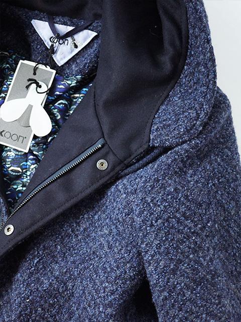 定価53 900円 税込Koon クーン 素材使いと色、柄使いのセンスが光る 高いデザイン性と上質素材が生み出す暖かな着心地が魅力的 ウール混プードルコート ロングコート BOB ボブ 92010002 ブルー 44 46 48 50 52 54 56メンズ イタリア製sQrdxthC