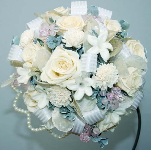 プリザーブドフラワー ラウンドブーケ ブトニア付 結婚式 ウエディング ブライダル 花束 アレンジ フラワーギフト 花の贈り物