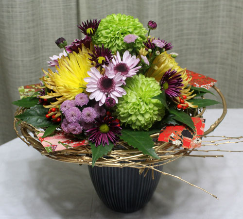 お正月の和風花束 アレンジメント ブーケ 生花 花束 アレンジ フラワーギフト 花の贈り物