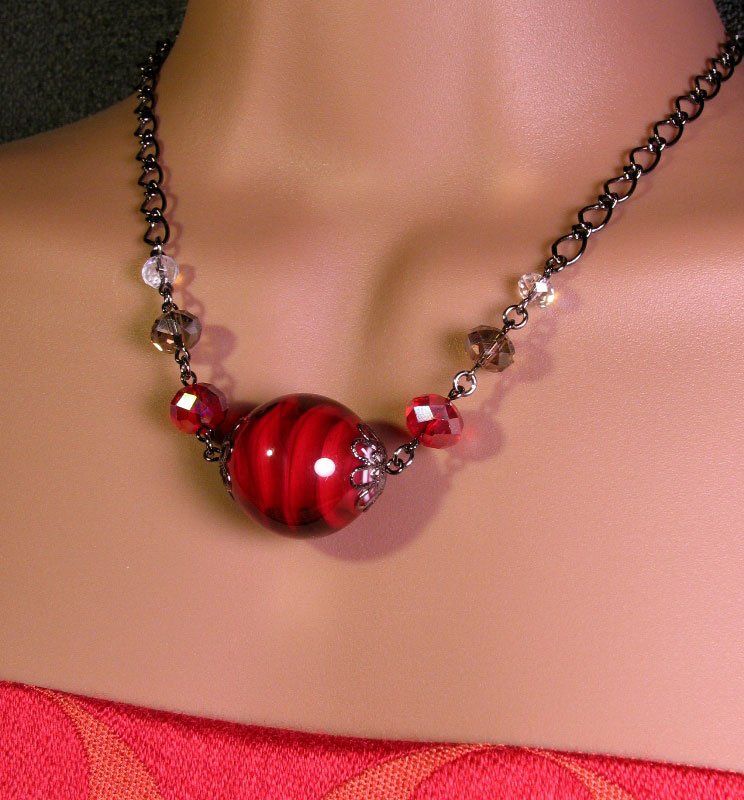 Japanese Lampwork Glass Beads Necklace Red Black Chain StudioWAZA