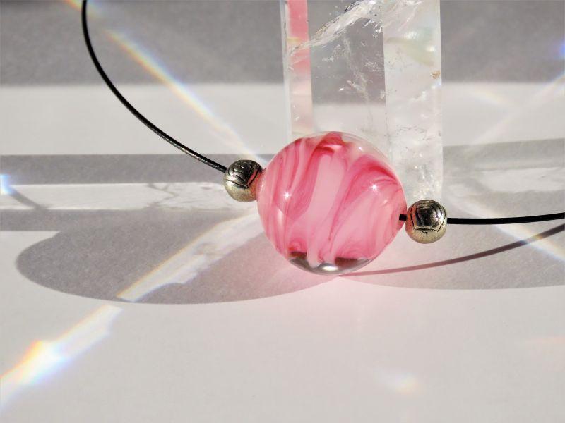 Japanese Lampwork Glass Beads Necklace Pink Black Wire Pendant StudioWAZA
