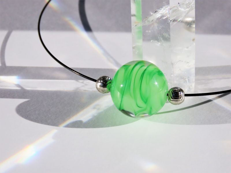 Japanese Lampwork Glass Beads Necklace Green Black Wire Pendant StudioWAZA