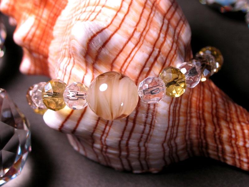 Japanese Lampwork Glass Beads Stretchy Bracelet Yellow StudioWAZA
