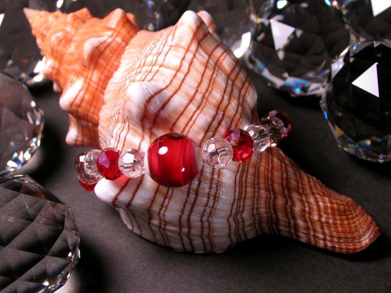 Japanese Lampwork Glass Beads Stretchy Bracelet Red StudioWAZA