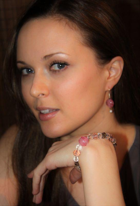 Japanese Lampwork Glass Beads Stretchy Bracelet Pink StudioWAZA