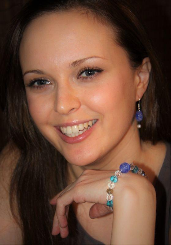 Japanese Lampwork Glass Beads Stretchy Bracelet Blue StudioWAZA