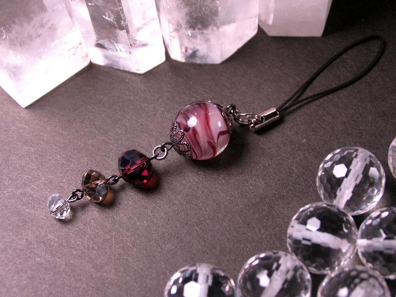 Japanese Lampwork Glass Bead Cell Phone Charm Purple StudioWAZA