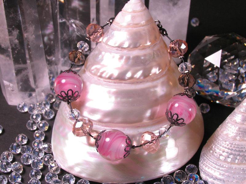 Japanese Lampwork Glass Beads elegant Bracelet Pink StudioWAZA