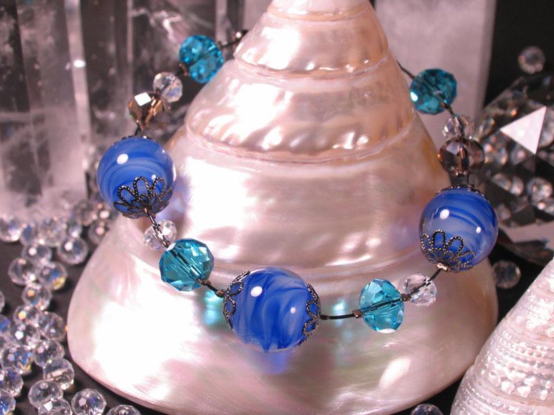 Japanese Lampwork Glass Beads elegant Bracelet Blue StudioWAZA