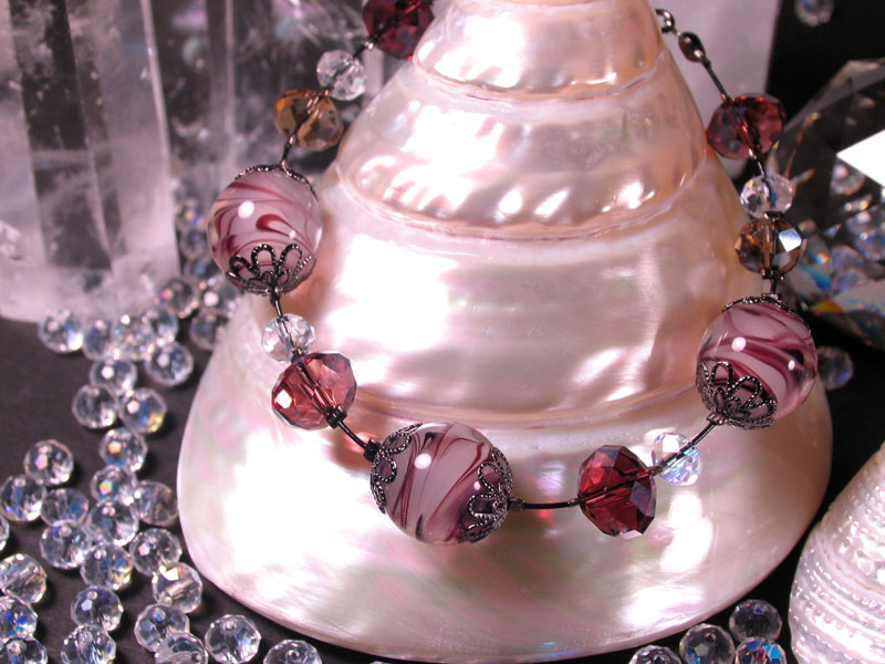 Japanese Lampwork Glass Beads elegant Bracelet Purple StudioWAZA