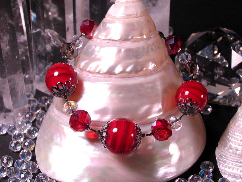 Japanese Lampwork Glass Beads elegant Bracelet Red StudioWAZA