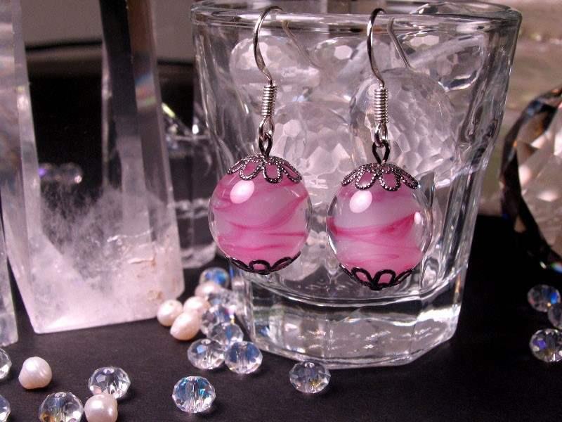 Japanese Lampwork Glass Beads Earrings Pink Sterling Silver StudioWAZA