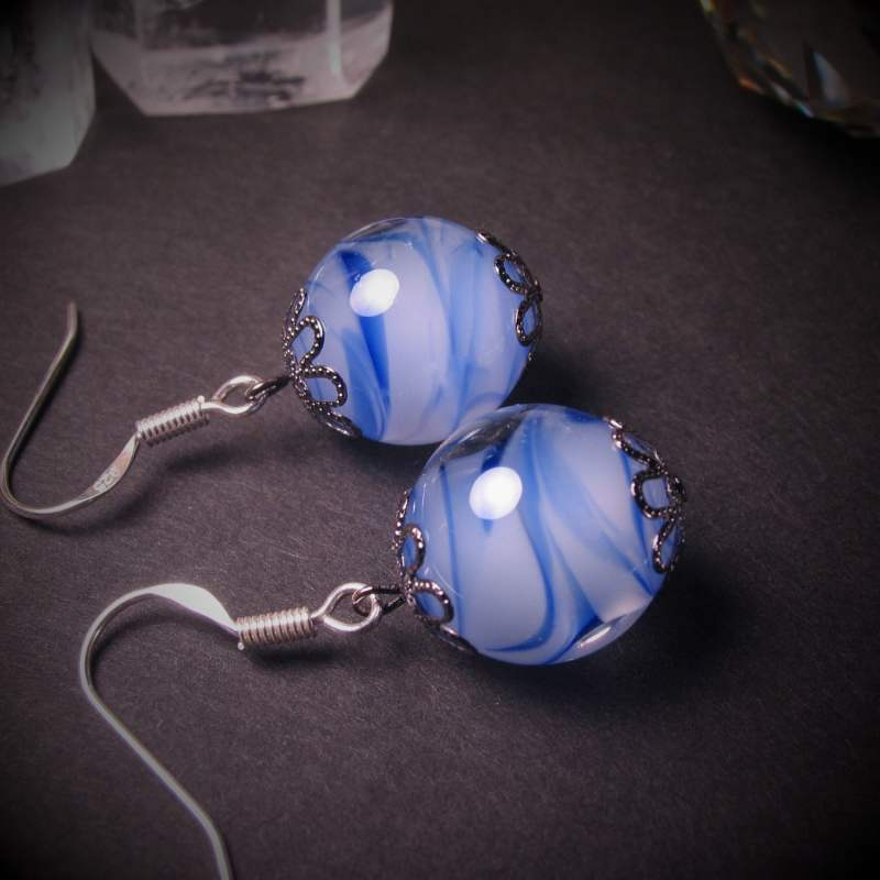 Japanese Lampwork Glass Beads Earrings Blue Sterling Silver StudioWAZA