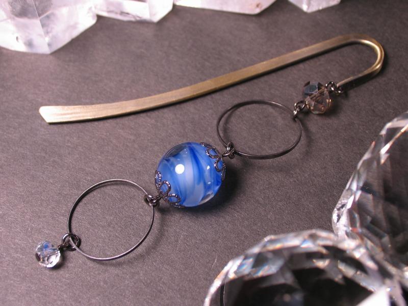 Japanese Lampwork Glass Bead BookMark Hairpin Blue StudioWAZA