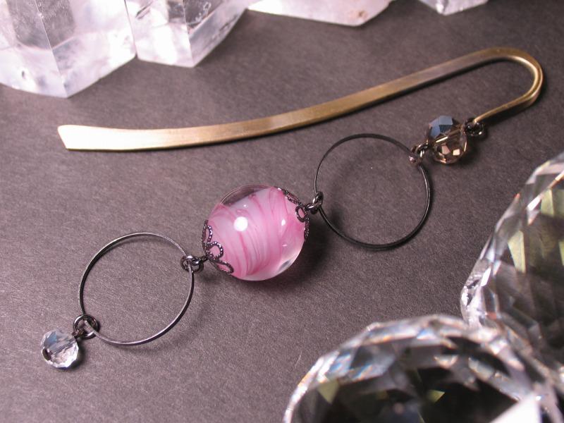 Japanese Lampwork Glass Bead BookMark Hairpin Pink StudioWAZA
