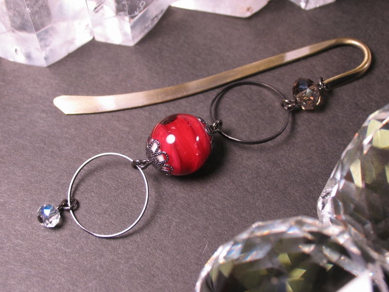 Japanese Lampwork Glass Bead BookMark Hairpin Red StudioWAZA