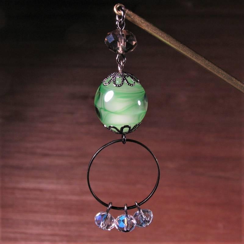 Japanese Lampwork Glass Beads Long Hairpin Green 14.5cm (5.7inch) Kanzashi StudioWAZA